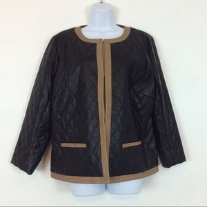 Joan Rivers Quilted Design Faux Leather Jacket